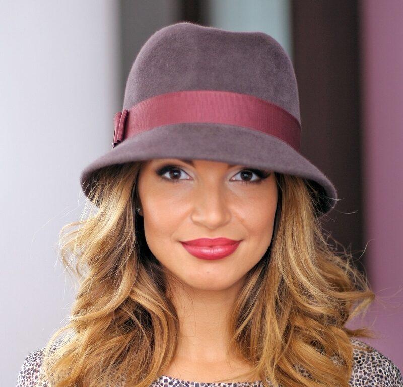 260-1 Женская фетровая шляпа Хелен Лайн