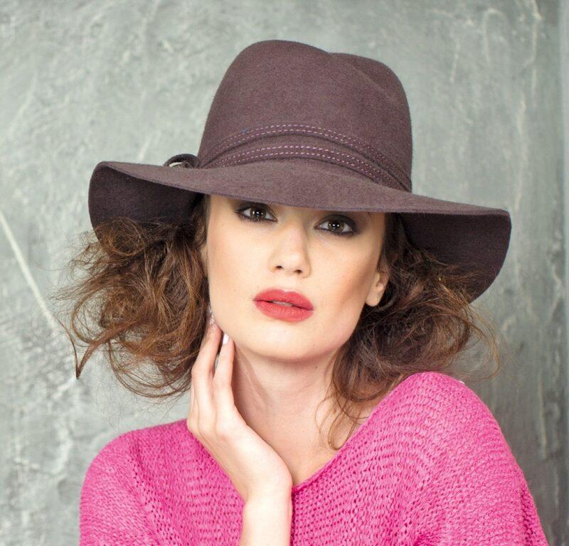 296-1 Женская фетровая шляпа Хелен Лайн