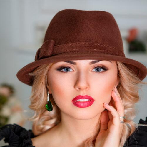 358  Женская фетровая шляпа Оливия