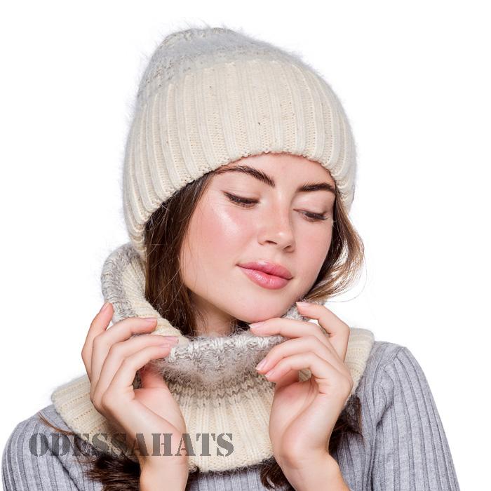 Комплект из ангоры шапка и бафф